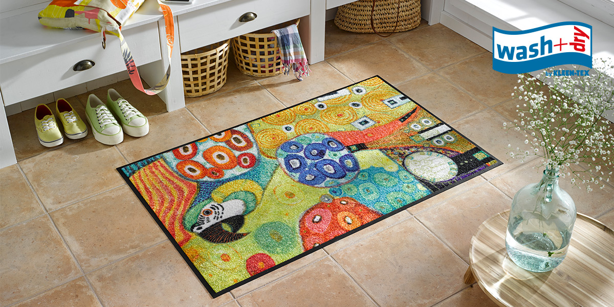 wash+dry Design mat with parrot