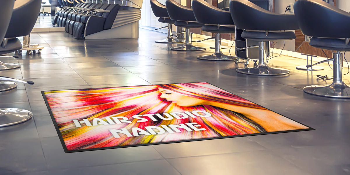 Jet-Print - colourful Jet-Print Vision Plus mat for a hair salon