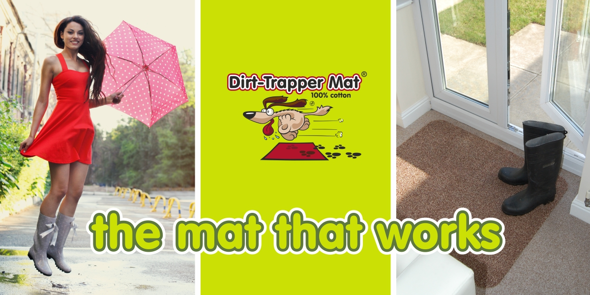 Dirt-Trapper Mats with girl in the rain and a mat by the door